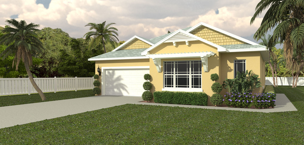 3-D Rendering. Home Under Construction.