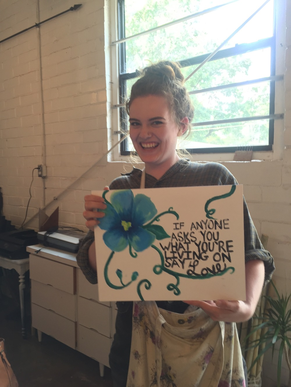 Intern, Hannah Burton presents her artwork, reflecting the drive behind Paint Love