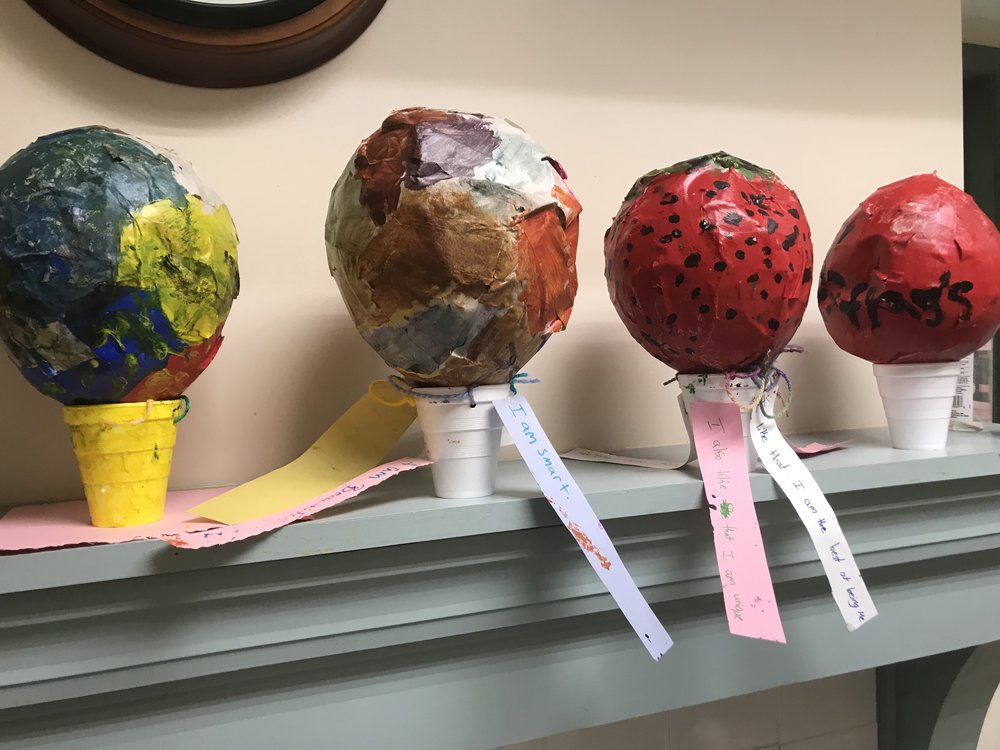 paper mache balloon project with Paint Love at Camp Peace Atlanta