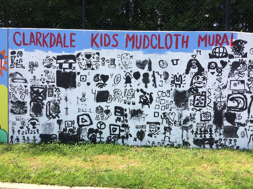 Detail shot of mud cloth mural section from Paint Love mural at Clarkdale Elementary school
