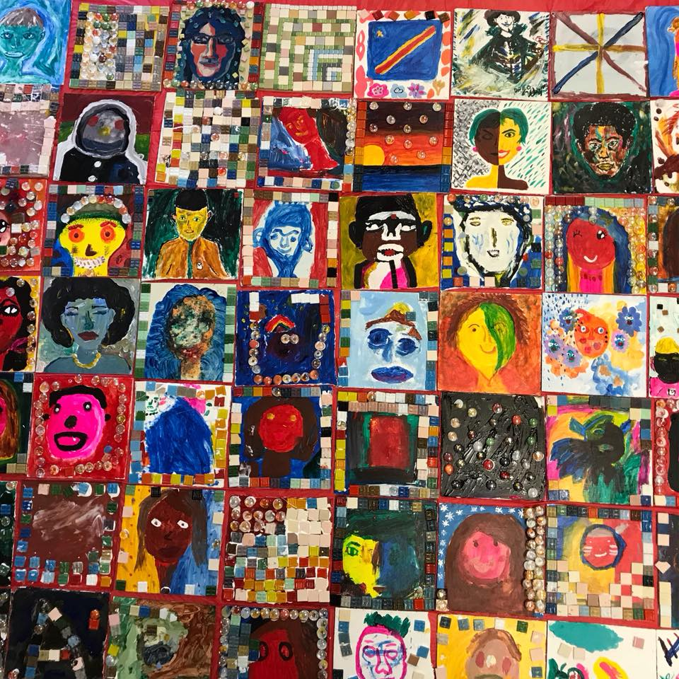 Mosaic tile project summer 2018 Paint Love at New American Pathways
