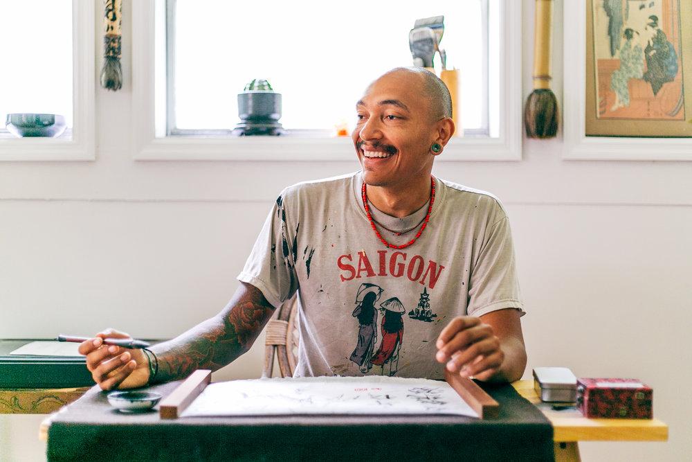 Paint Love artist Brandon Sadler Rising Red Lotus
