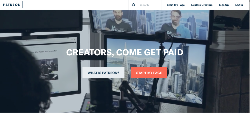 Patreon's Hompage