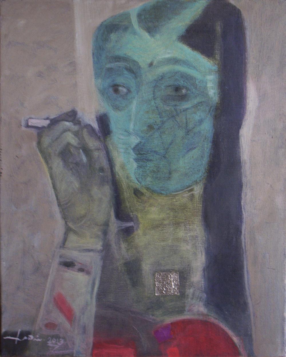 وجه فتاة مع سيكارة 50×40 سم.JPG