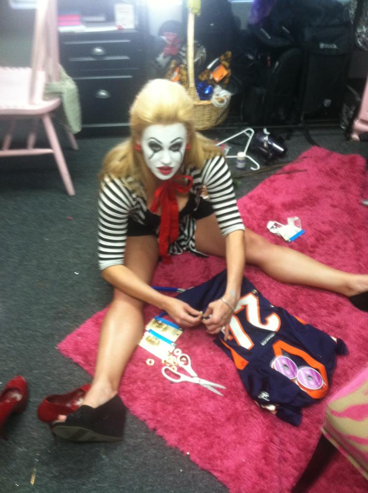 Making halloween costumes with my mime halloween costume on.