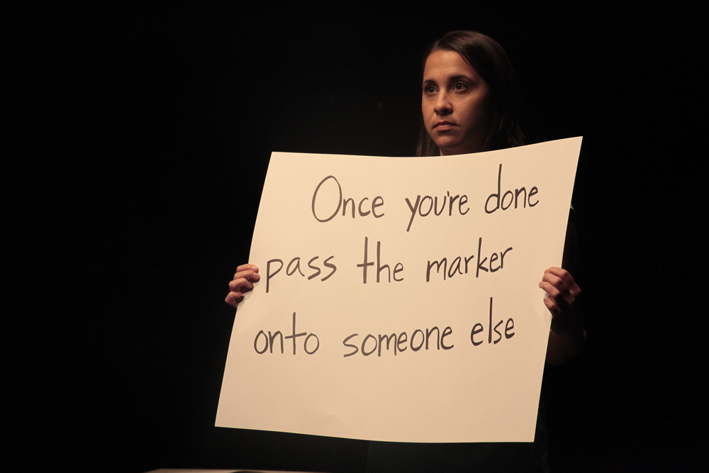 Stephanie DeMott in a devised performance created during the 2014 CIIS/Chichester Summer Intensive.