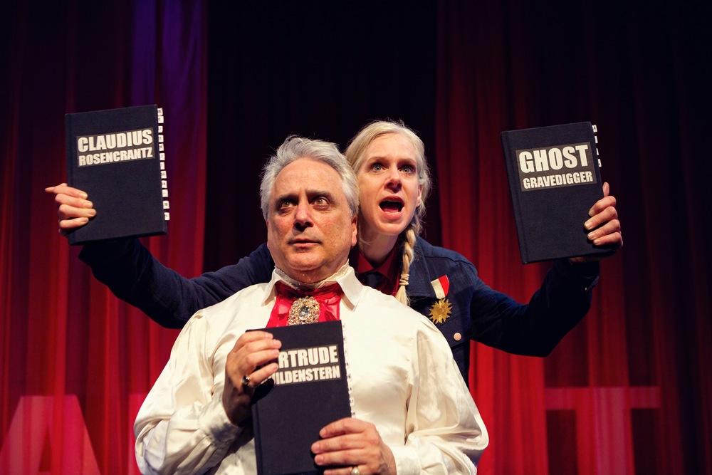 David Sinaiko (L) as Gertrude and Beth Wilmurt (R) as Hamlet.