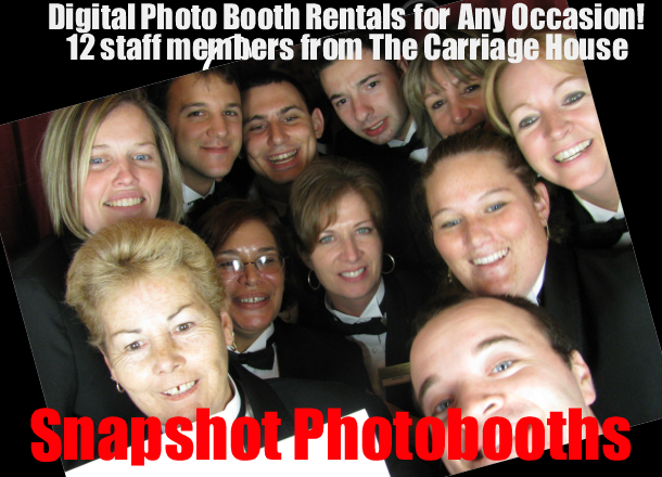 12 staff members form the Carriage House in the Photo booth