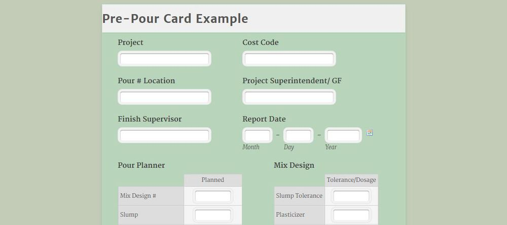 Use a pre pour checklist on your next concrete pour for Concrete pour card template