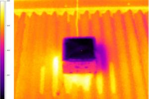 Picture above shows an infrared camera view of the temperature difference between the test material (blue) and existing roof (red and orange). Photo courtesy of UTS Research Team