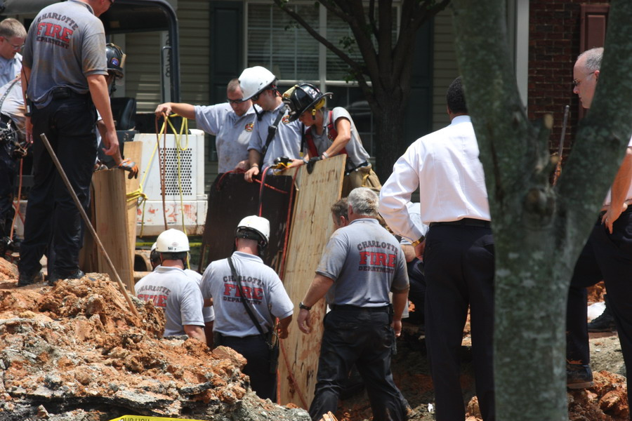 The photo above shows a trench rescue by the Charlotte, NC fire department in 2011. Photo by  Charlotte Fire Department ,  CC BY 2.0