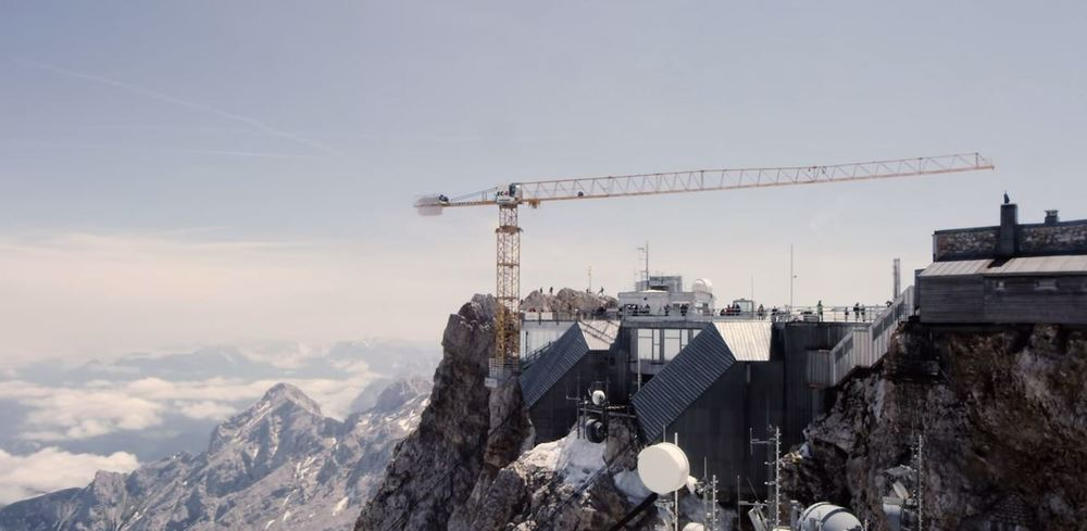 liebherr crane on mountain side