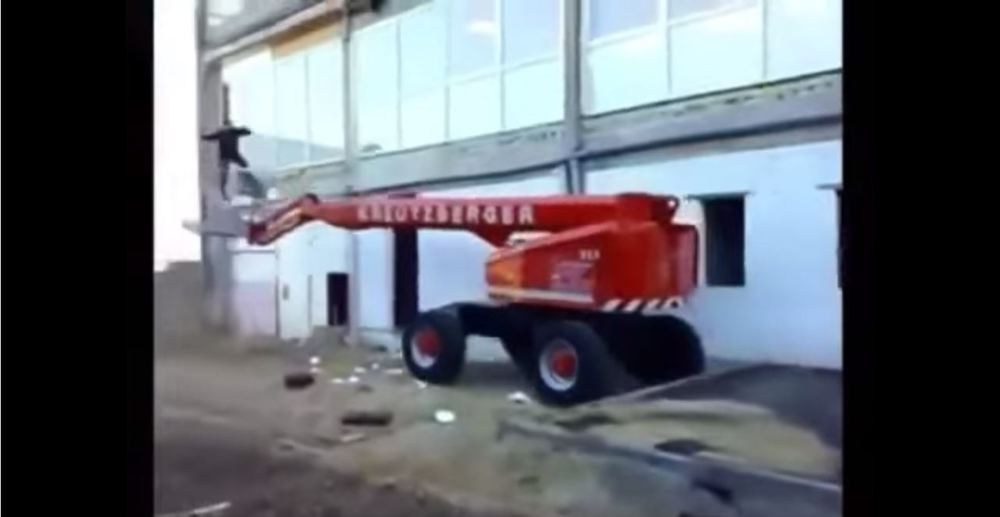 man catapulted by boom lift