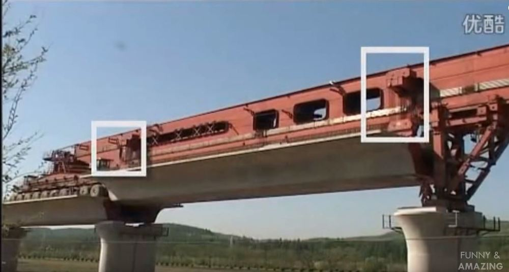 close up chinese girder erection machine