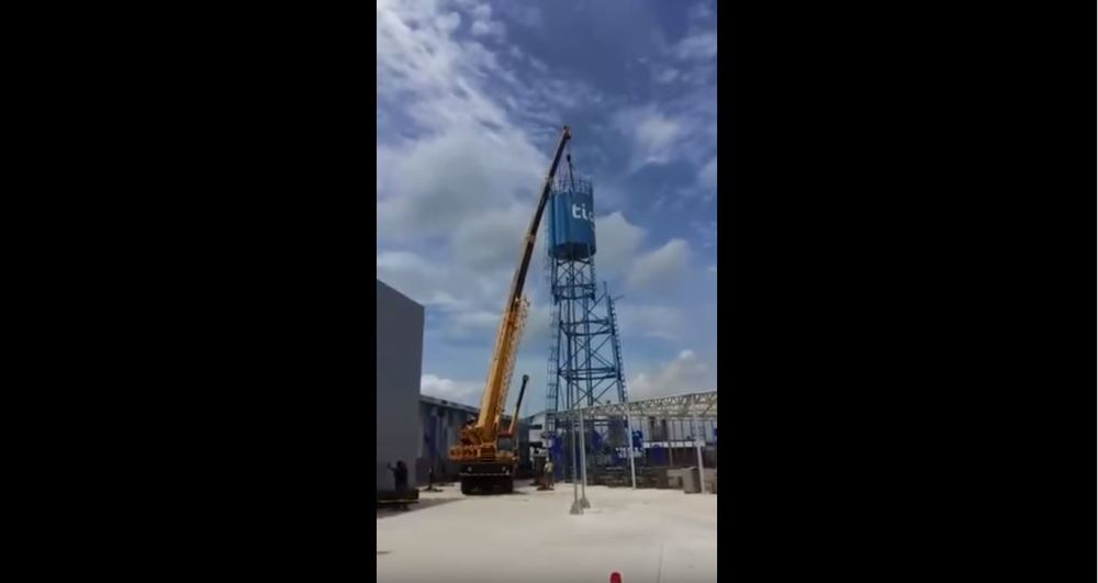water tower crane collapse