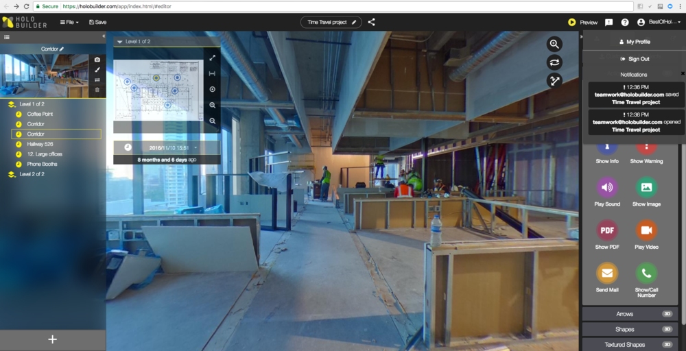 A 360-degree job walk, captured in the field and shown in the web browser
