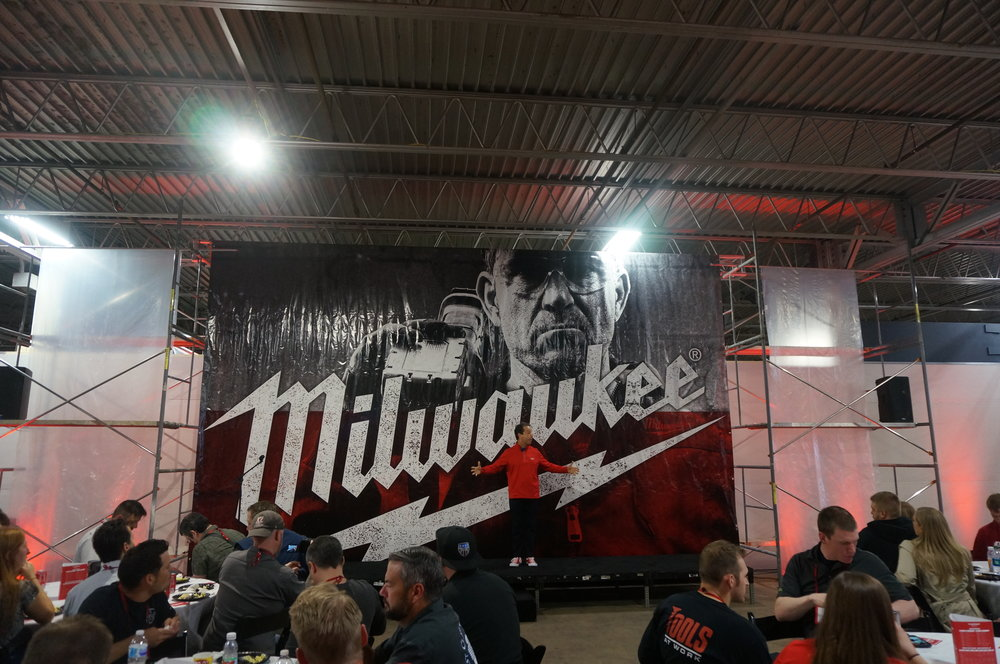 Milwaukee Tool CEO Steve Richman delivers the opening address at NPS 2018