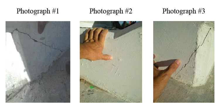Photographic documentation of the crack in the region of bridge diagonal 11, north end of bridge. (Source: Bolton-Perez and Associates Consulting Engineers)