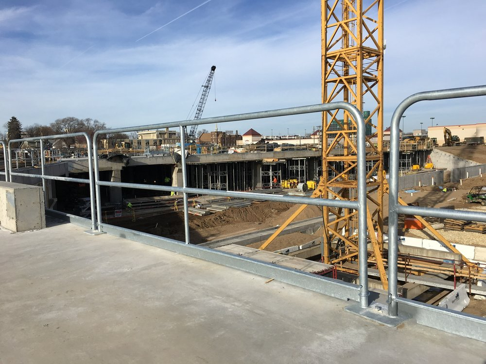 Hilmerson Safety Rail System deployed at Allianz Field stadium project in St. Paul, MN