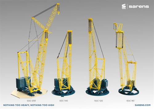 Sarens fleet of giant cranes (SGC-90 pictured far right is a future release)