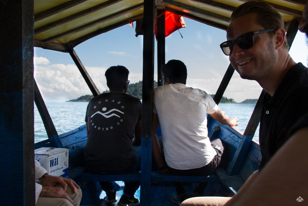 The boat journey across Lake Kivu to Gisheke washing station.