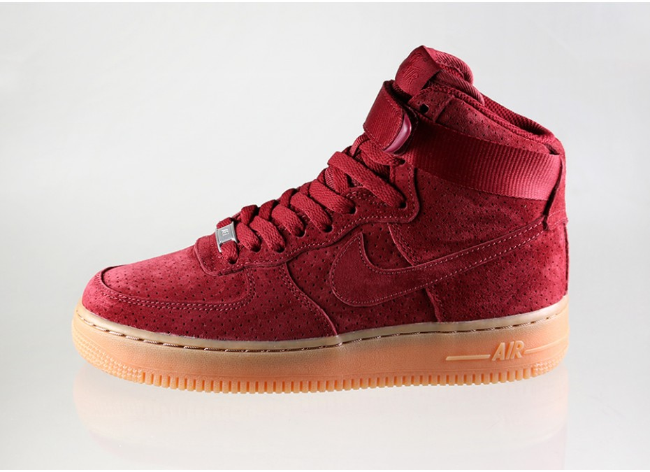 nike wmns air force 1 high red suede pumps