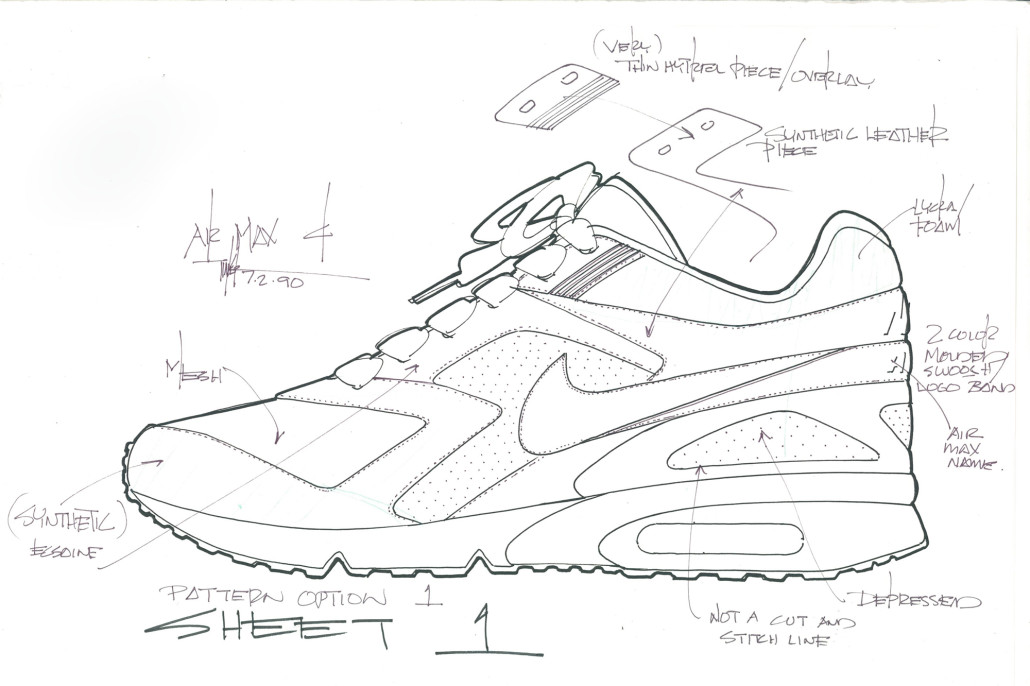 Tinker Hatfield S Original Sketches Of The Nike Air Classic Bw The