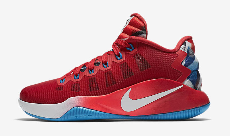 reputable site db99c 02313 University Red comes together with White and Blue tones to outfit the Nike  Hyperdunk 2016 Low LMTD.