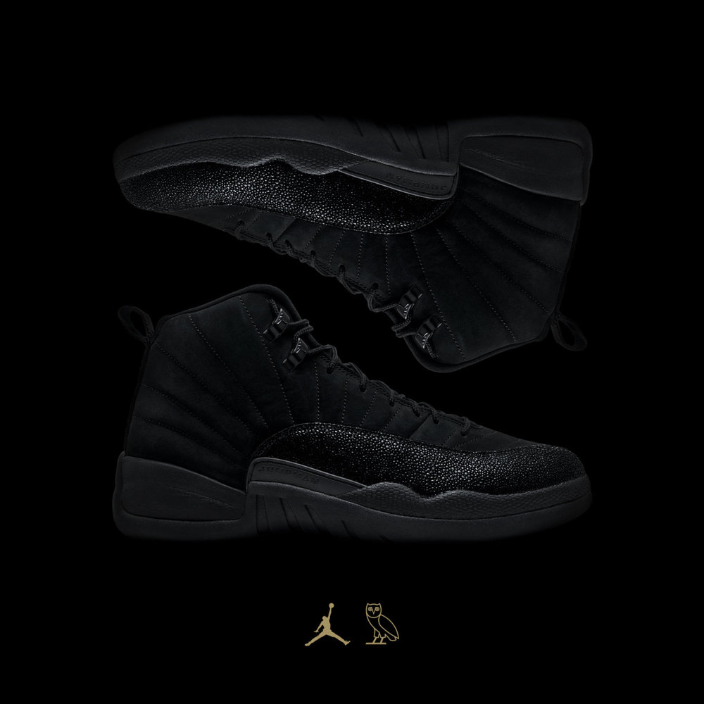 a4a0d49a8ac63a The collection is highlighted by a re-imagination of the classic Air Jordan  XII in an all-black colorway with signature OVO gold ...