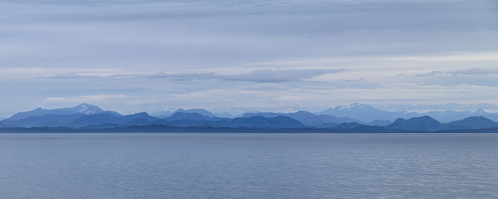 Early morning at the Queen Charlotte Strait looking from Vancouver Island to the central BC coast.