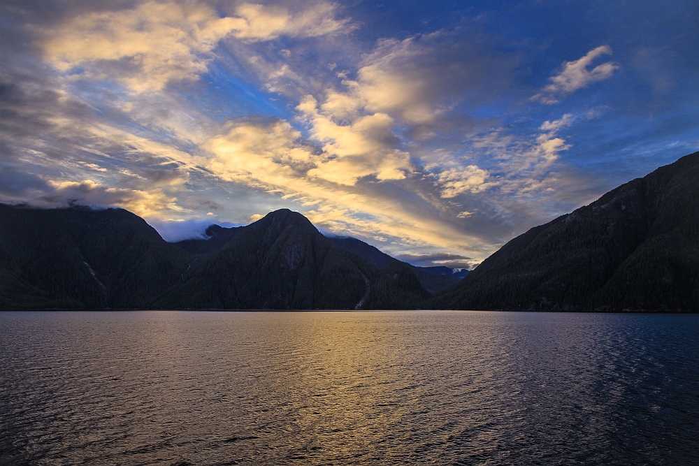 Last light in one of the many fjords of the Great Bear Rainforest