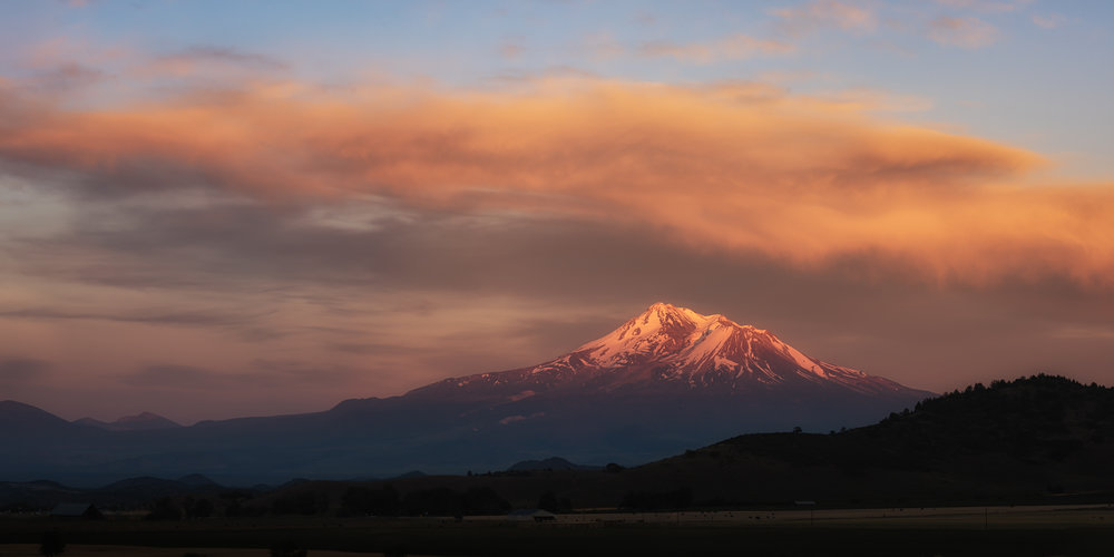 Once again, Mt. Shasta at the very moment of sunset.
