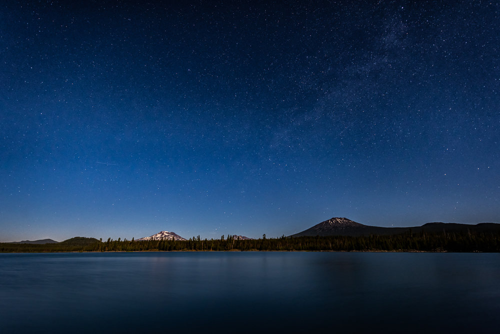 Lava Lake, South Sister, Broken Top, Mt. Bachelor and an abundance of moonlight and stars