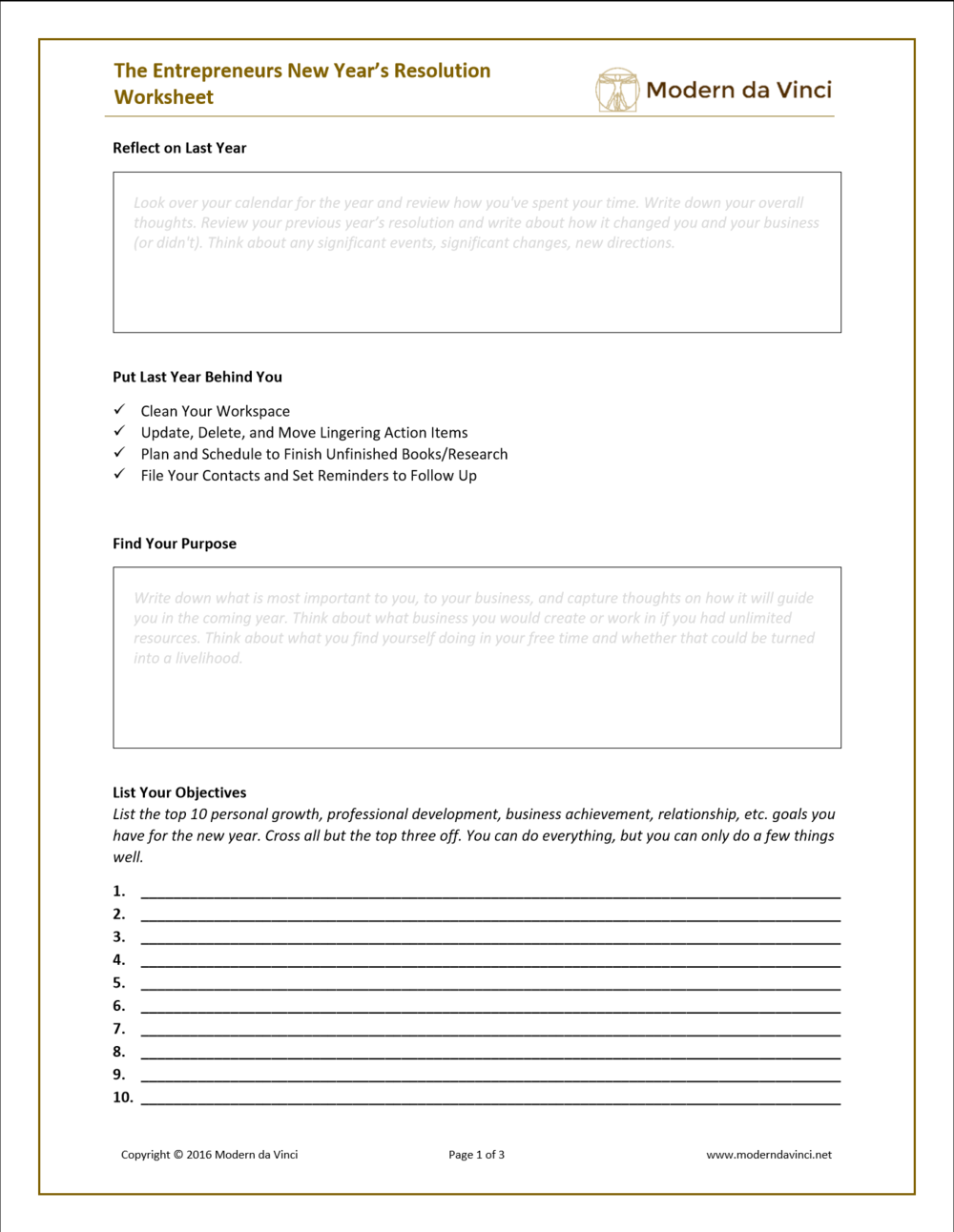the entrepreneurs guide to new year s resolutions modern da vinci the entrepreneurs new years resolution worksheet will walk you through a process for reflecting on your