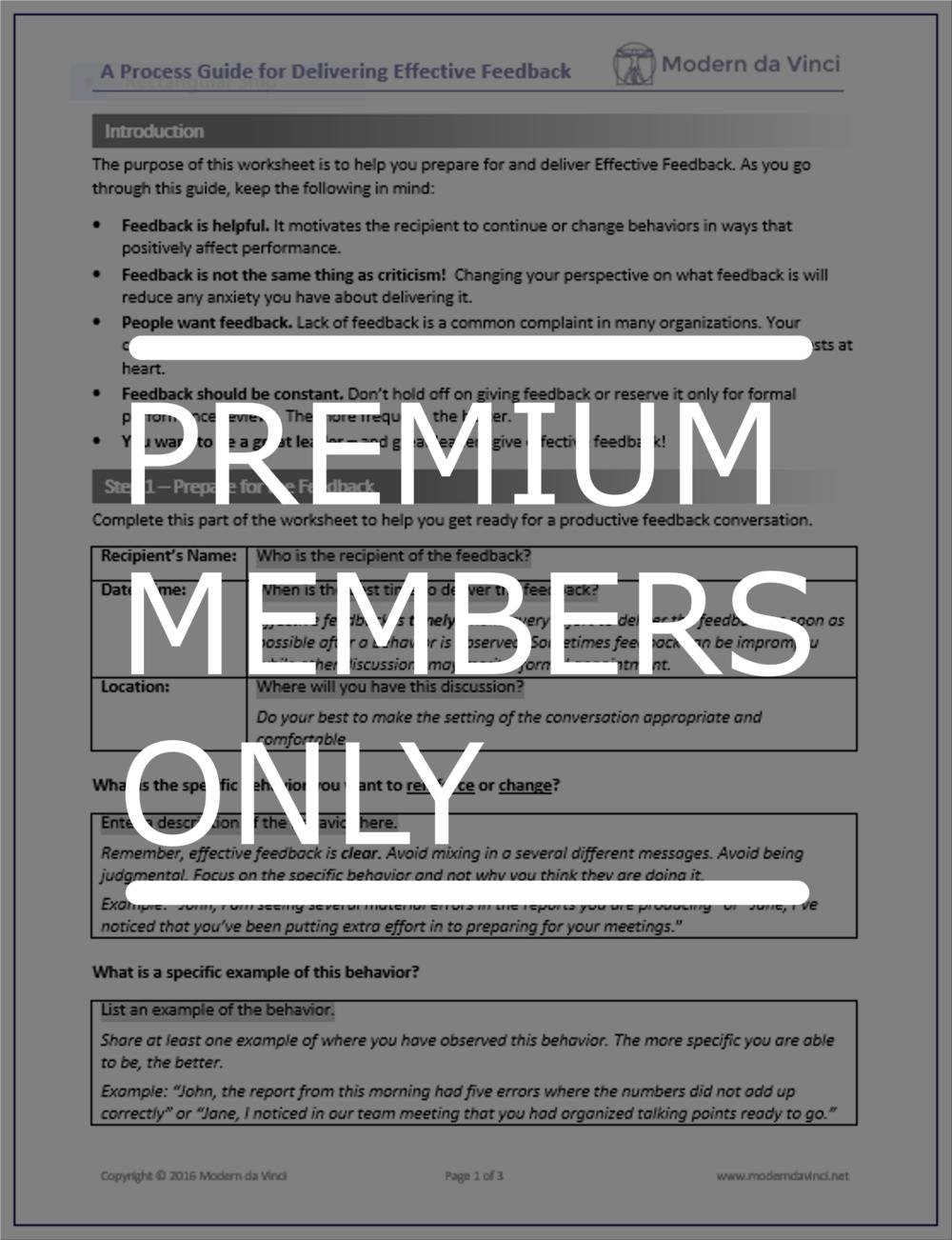 [Premium Members] Effective Feedback Process Guide Template Download Here >