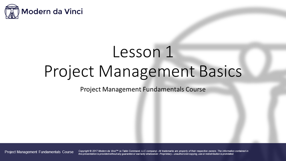 Lesson 1  - Project Management Fundamentals