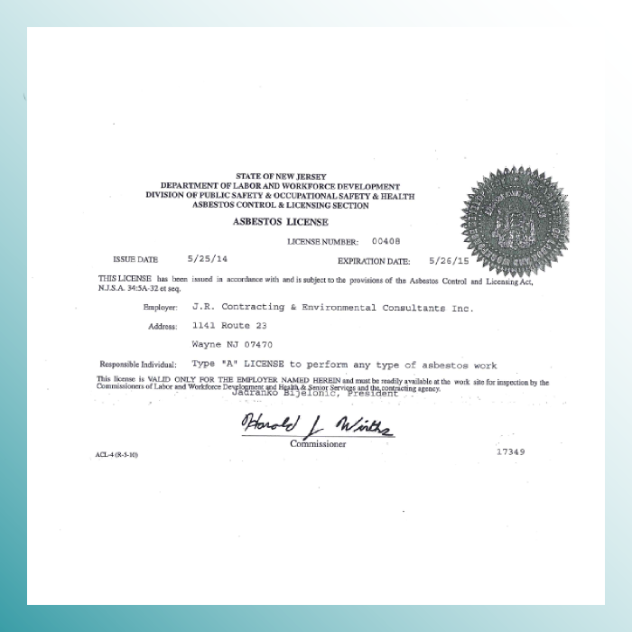 New Jersey DOL Asbestos License