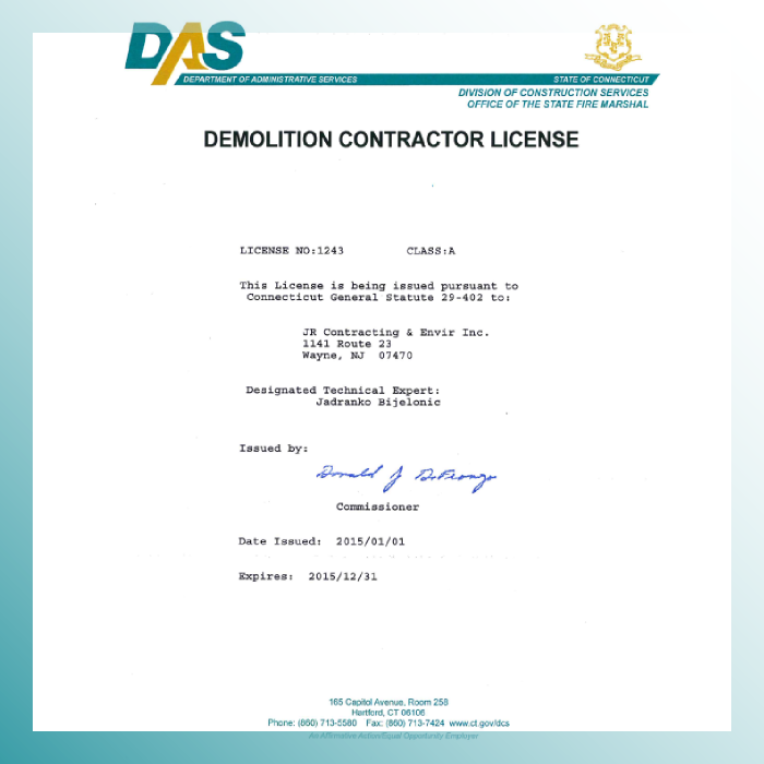 Connecticut Demoltion License