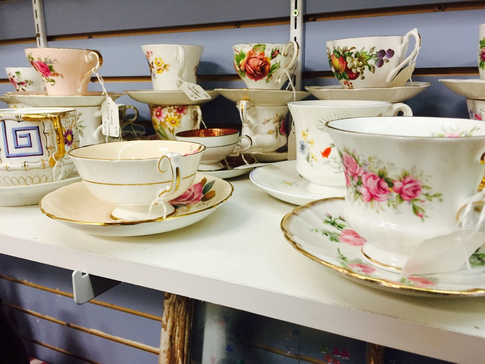 antique teacups at the strathcona antique mall