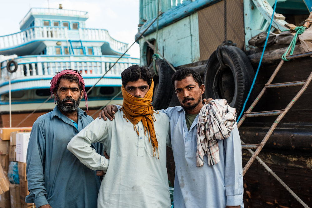 migrant workers on the docks, DUBAI, UAE
