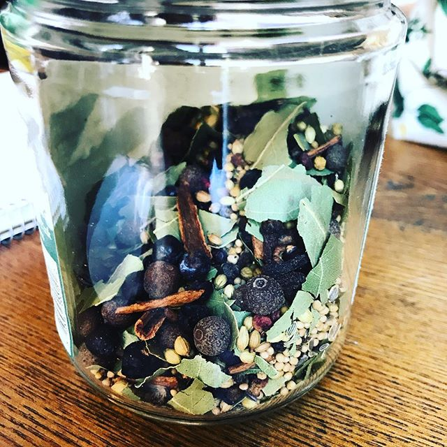 It occurs to me perhaps it is ridiculous that when I decide on a whim to throw together a complex pickling spice blend I can even add the juniper berries. I mean WHO ELSE just happens to have a jar of juniper berries at hand?? I'm either awesome or a horrifying dry goods hoarder.