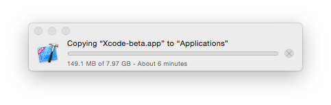 8GB! The current version of Xcode sits at just over 5GB. I wonder whats different. Perhaps Interface Builder is finally retina?