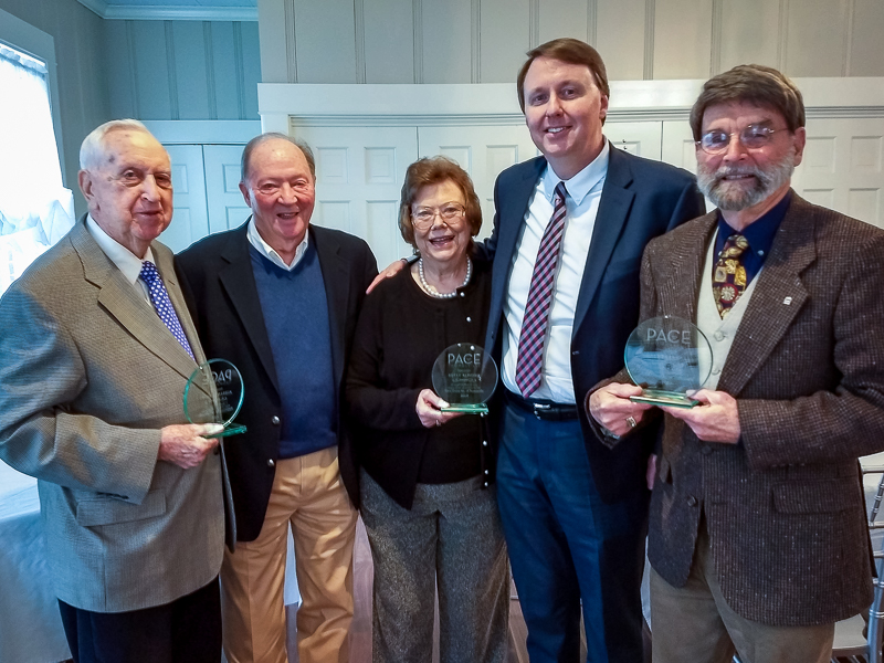 From left to right: Aldeen Robbins, Jim Gregory (Past President), Betty Almond, Doug Elliott (Current President), and Dale Everhart.