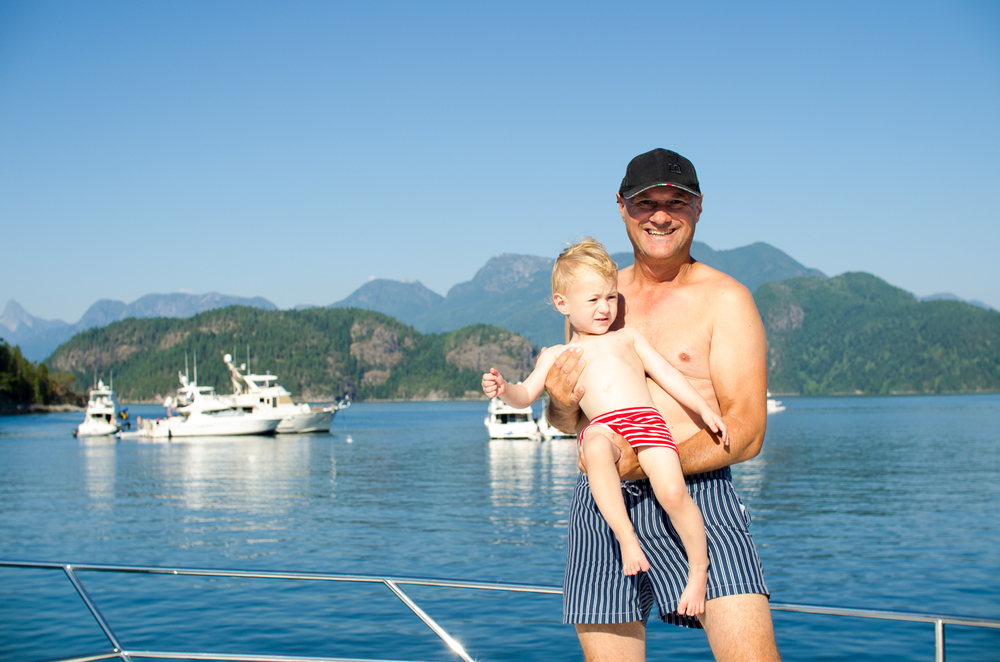 My boys in stripes with Mink Island near Desolation Sound as our backdrop.  The most beautiful destinations in the Pacific Northwest and British Columbia. Bathing suites from Zara