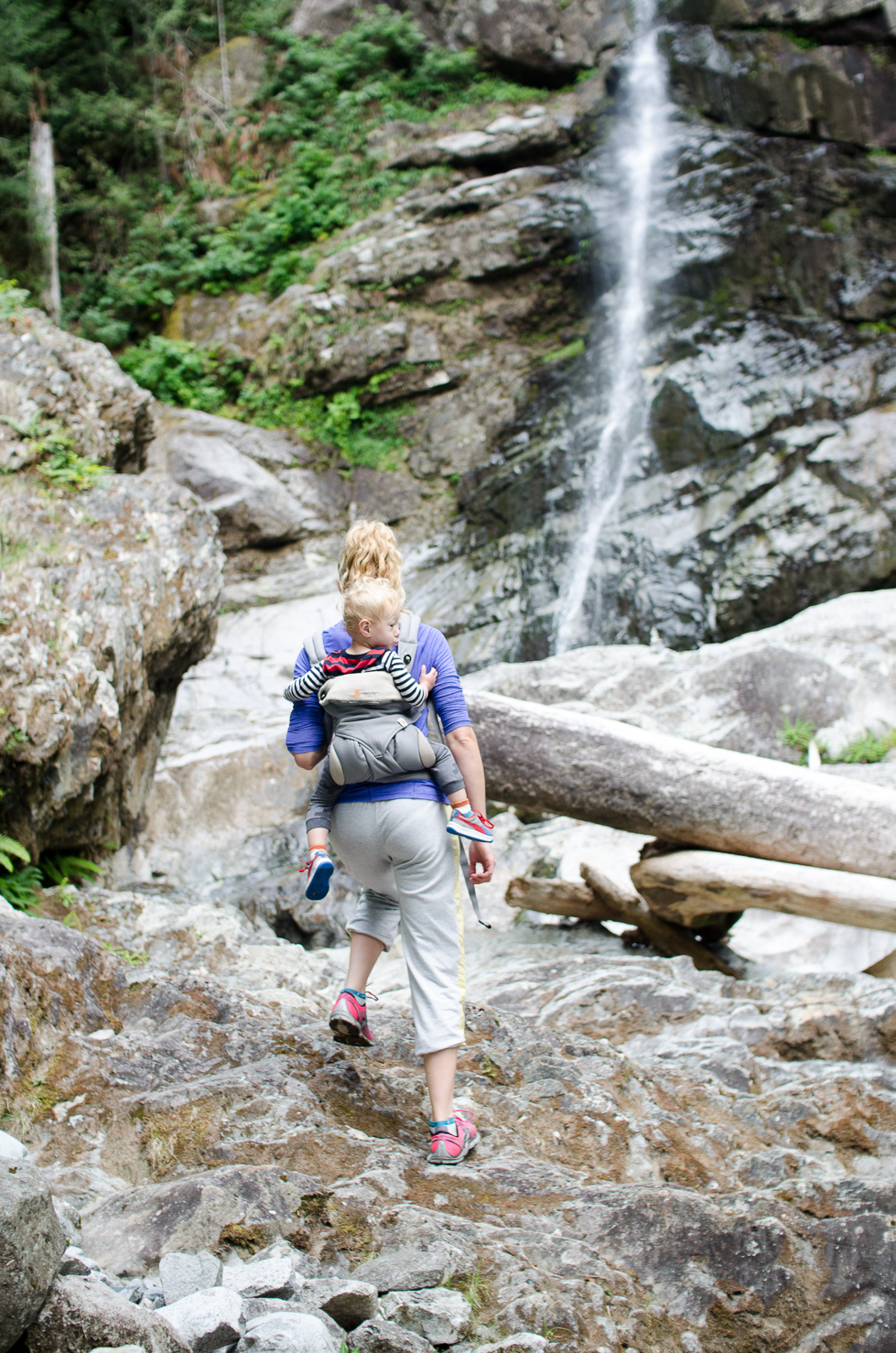 "Hiking to the ""Spectacular Waterfall"" at Toba Wildernest in Desolation Sound, BC Canada.  ErgoBaby 360 // {by Totes and the City}"