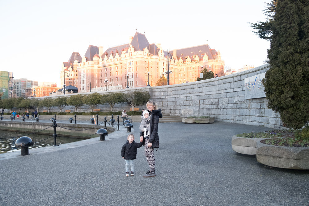 Sunset on the Fairmont Empress Hotel in Victoria, B.C. Canada