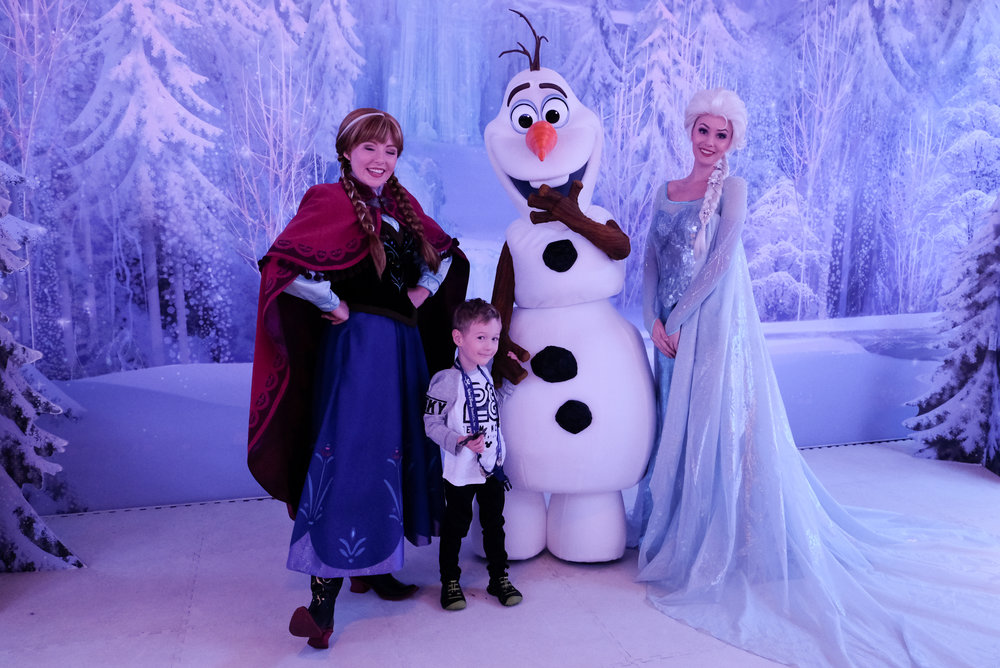Blushing while meeting the cast of Frozen on board the Disney Wonder on our cruise to Alaska