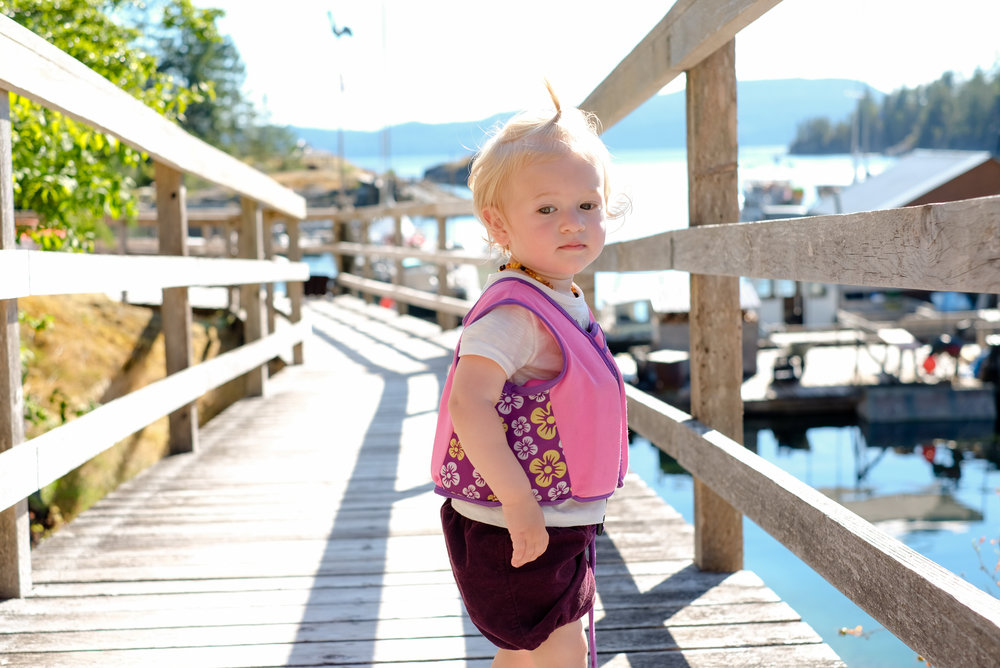 Apple roaming the boardwalks of Refuge Cove in BC Canada during a refueling stop during our Desolation Sound trip.  Image by Totes and the City for Destination: Desolation 2017