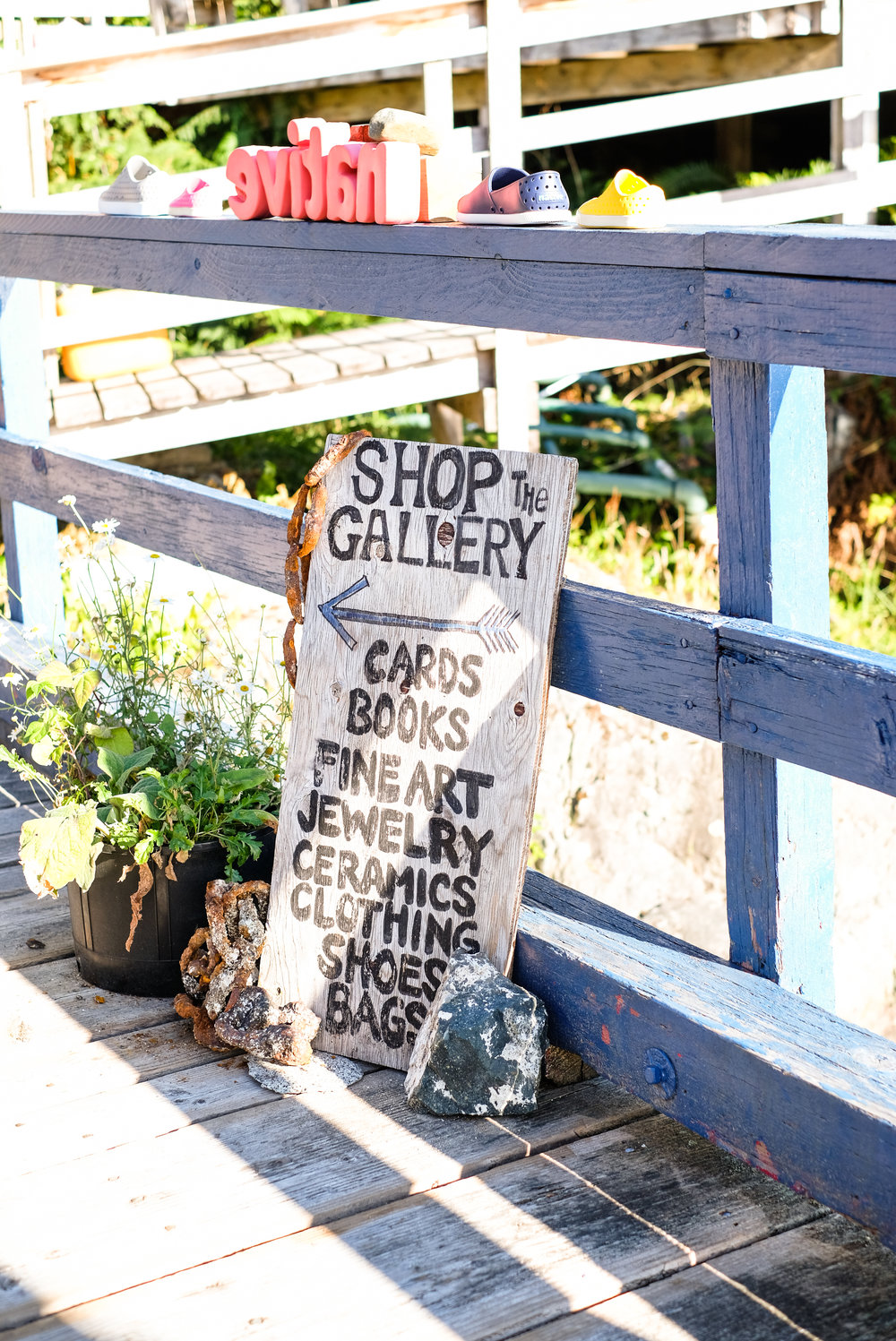 The Gallery signage on the boardwalks of Refuge Cove, BC Canada.  Image by Totes and the City for Destination: Desolation 2017