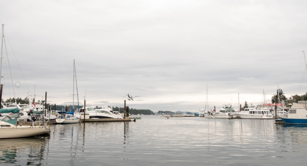 Ganges Marina in Ganges, BC Canada on Salt Spring Island.  We spent a night before traveling across the Strait of Georgia to the Sunshine Coast on our way to Desolation Sound.   Image by Totes and the City for Destination: Desolation 2017